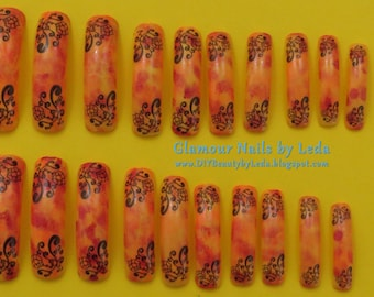 20 Extra Long Square Nails Fall Camo Gradient with Black water decals