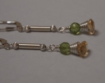 Elegant Sterling Silver Earrings with Citrine and Peridot