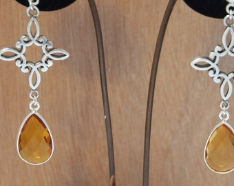 Long Sterling Silver Earrings with Golden Citrine Quartz