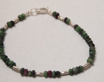 Bracelet in Sterling Silver with Ruby Zoisite