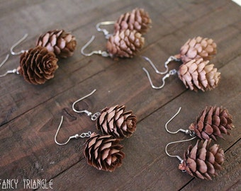 Real Pine Cone Earrings- One Pair (Natural Mini Pine Cones) *For FALL & WINTER Lovers*