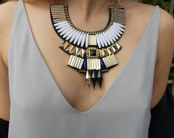 White and Gold Egyptian Tribal Bib Statement Necklace
