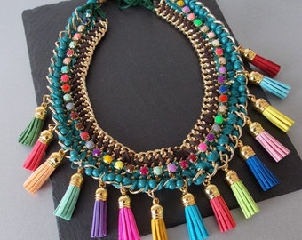 Chunky Multi-Coloured Tassel Statement Necklace