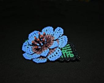Flower Hair Clip, Barrette, Native American Hair Accessory, Mexican Floral Clip, Bridal Hair Clip, Huichol Barrette, Gifts for Her