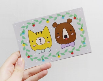 Christmas postcard, Holiday card, Cute cat and bear