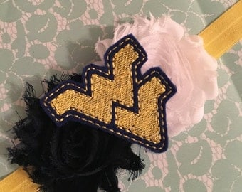 Navy white and yellow WVU mountaineer West Virginia baby girl infant headband bow