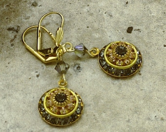 Swarovski Drop Earrings, Vintage Swarovski Elements Circle Earring Boho Chic Crystal Earring