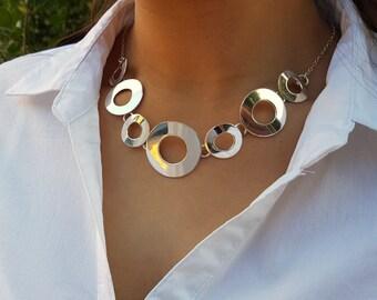 Statement silver necklace, Statement necklace, Silver necklace, Sterling silver necklace, Chunky necklace statement, Chunky silver necklace