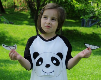 Moody Panda Bear Children's Playsuit | Changing Mood Animal | Girl/Boy Costume | Goofy/Stick Out Tongue/Smiley mouthpieces | Sizes NB-5T