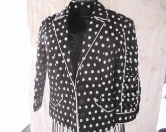 Navy & White Polka Dot Shorty Jacket/Blazer, Size 6 Petite, features tapestry polka dots, ruched 3/4 sleeves, extensive piping accents