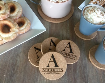 Personalized Thick Cork Coasters - Anderson Style (set of 4)