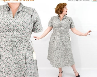 Summer SALE 50s Grey Atomic Print Dress | Mode O'Day | Volup | Plus Size