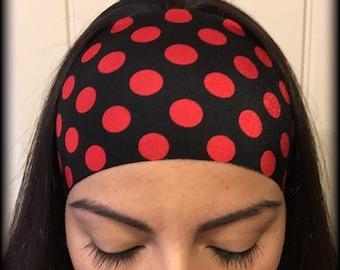 Black w/ Red Polka Dots - no slip athletic headband