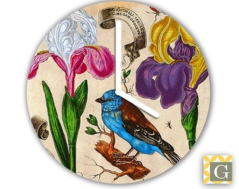 Wall Clock by GABBYClocks -  Antique French Botanical No. 6
