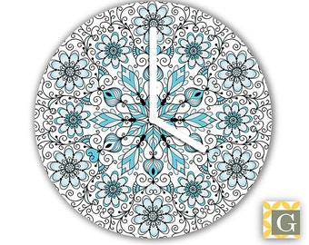 Wall Clock by GABBYClocks -  Blue & Black Mandala Petite