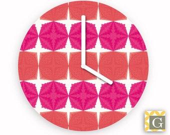 Wall Clock by GABBYClocks - Pink Geometric Grande