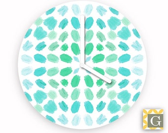 Wall Clock by GABBYClocks - Turquoise Brushes