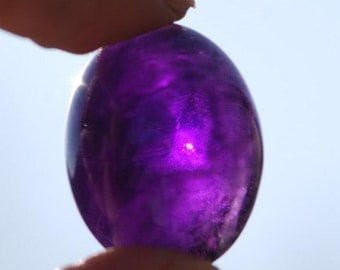 One Piece, Large, Deep Purple Oval Amethyst Cabochon, High Dome, 23 x 18mm