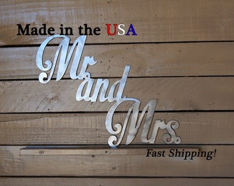 Mr. and Mrs. Metal Sign, Metal Art, Bathroom Decor, Outdoor Wall Art, Wedding Decor, Metal Sign, Sign, Indoor, His and Hers, W1017