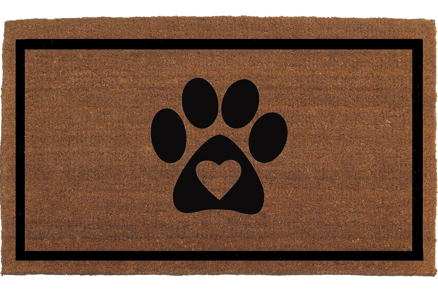 Heart With Paw Print Dog Paw Cat Paw Door Mat By