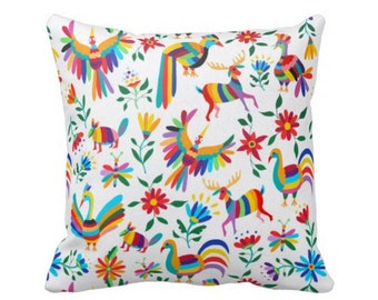 """Colorful Otomi Throw Pillow Cover, Boho/Ethnic Mexican Folk Art Animal & Nature Print 16 or 20"""" Pillows or Covers"""