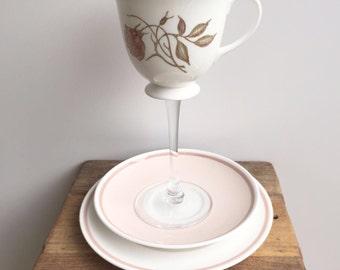 pink rose teacup wine glass