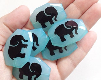 Black Elephant Bangle Beads on Robin's Egg Blue Beads! Faceted, Gorgeous Beads
