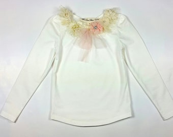 pearl and tulle girls top. flower girl  top . toddler top. little girls pretty top. embellished girls top.