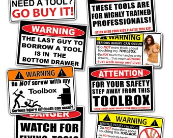 Toolbox Sticker Pack - Tool Box Decal Set Funny Tools Guy Dad Father Set Sexy Girl Joke Laugh Prank