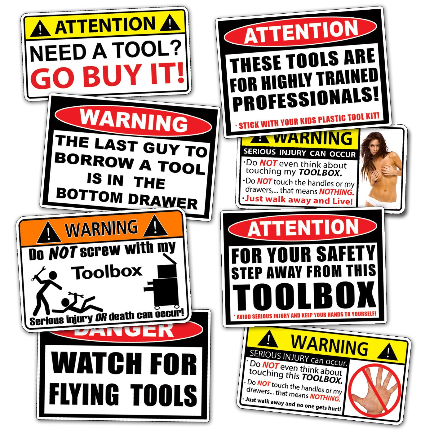 Toolbox Sticker Pack Tool Box Decal Set Funny Tools Guy Dad
