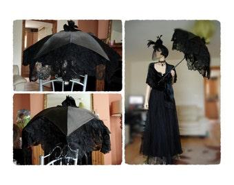 Original Victoriana Goth Steampunk Antique 1900's 1890's lace velvet full outfit net mesh Edwardian black evening gown dress size UK 10 US 6