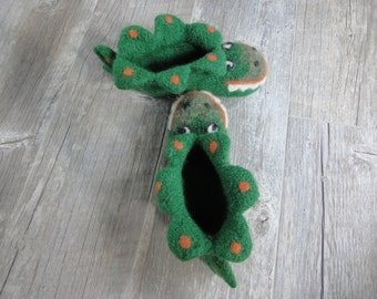Toddler Dragon Slippers, felted wool slippers,