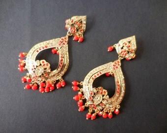 Free Shipping Wedding Gold Jadau Earrings Indian Jewelry Muslim Wedding Earrings Punjabi Mughal Earrings