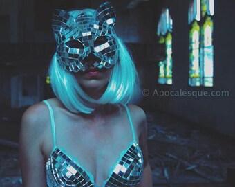 FULL Costume: Disco Cat  (Mask + Bra + Choker + Belt)