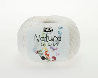 Set of 3 balls of DMC Natura Just Cotton Ivory (N02) 100% Cotton, 50g, Length 155m 4 ply-DK