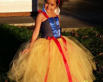 Snow White Full Length Tutu Dress w/Matching Red Hair Bow