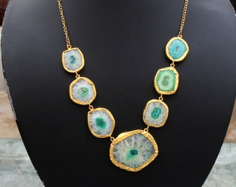 Gold Plated Green Solar Quartz Necklace, Statement Necklace, Gemstone Necklace, Boho Chic, Tribal, Bohemian