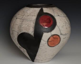 HAND CARVED VASE, geometrical handmade raku vessel