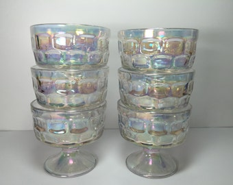 Vintage Iridescent Federal Glass Sherbet Bowls..Footed Colonial Pattern Dessert Cups...Yorktown Thumbprint Clear Glass Ice Cream Bowls..
