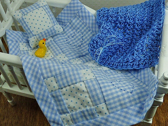 Miniature Dollhouse Blanket Baby Boy Baby Blue Little Blanket Small Pillow Tiny Afghan Inch Scale Shadowbox Accessory Collector Gift Set Fun