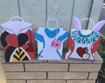 """Handmade Alice in Wonderland inspired giftbags 7.875"""" x 4.25"""" x 10.25"""" Choose from Alice - The Red Queen- The White Rabbit -each bag 8.00"""