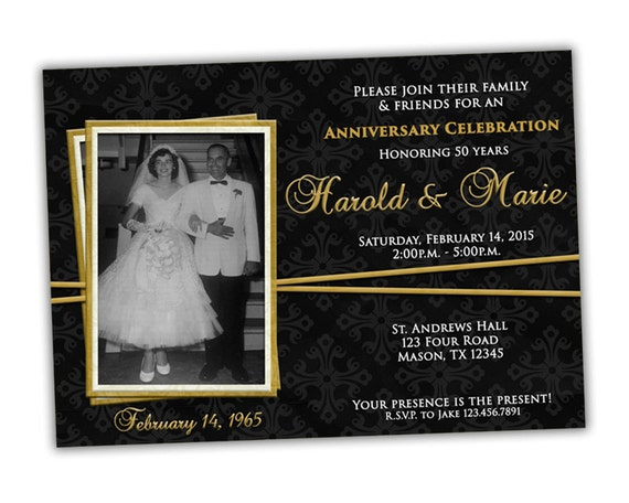 Elegant Gold Ribbon 50th Wedding Anniversary Party Invitations