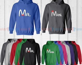 Mr. & Mrs. - Matching Couple Hoodie - His and Her Hoodies - Love Sweaters