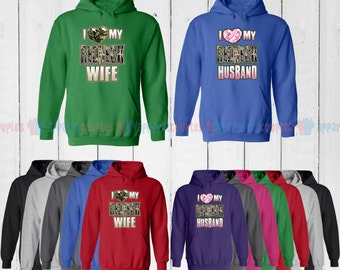 I Love My Redneck Wife & I Love My Redneck Husband - Matching Couple Hoodie - His and Her Hoodies - Love Sweaters