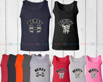 Beast & Beauty - Matching Couple Tank Top - His and Her Tank Tops - Love Tank Tops