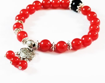 8mm Red Agate Beads and Silver Plating Chinese Ping An Lock Bracelet