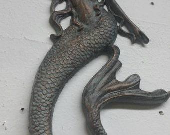 "Mermaid cast iron reproduction, Verdigris, approx. 19"" tall, 9.5"" wide. Vintage style nautical wall decor. Ocean decor, beach decor."