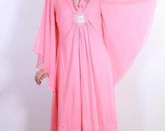 1970s Disco Diva Coral Bell Sleeve Dress