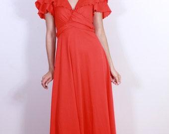 1970s Hot Red Diva Dress