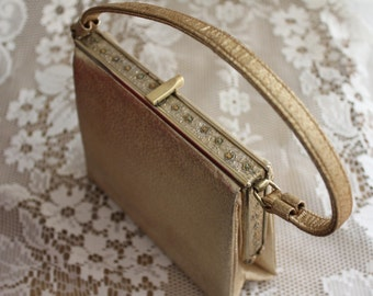 Vintage Gold Lame After Five Purse 1950's Evening Bag Made in USA